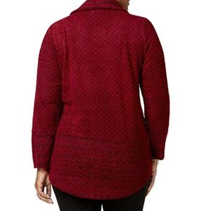 Style & Co Sweaters - Style & Co Sweater Jacquard Cowl-Neck Pullover Red
